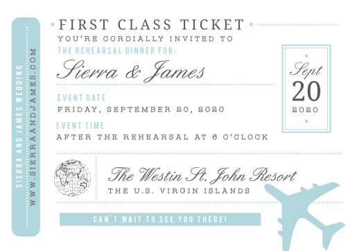 No matter how far your guests need to travel to be there, be sure they will with our gorgeous Bon Voyage Rehearsal Dinner Invitations.