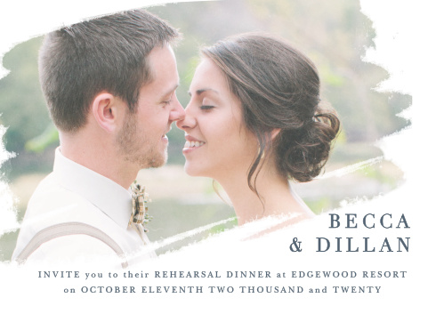 Our stunning Brushstroke Bliss Rehearsal Dinner Invitations are perfect for gathering together everyone you need to practice your big day.
