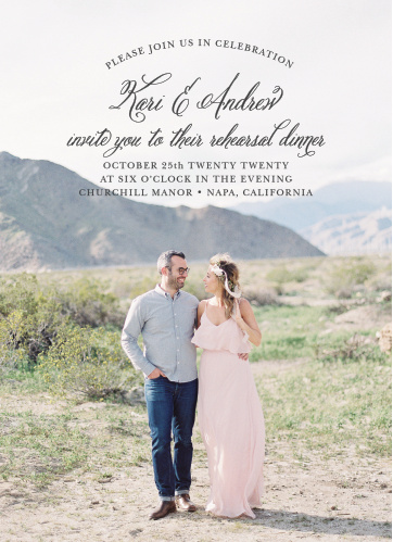 Our gorgeous Timeless Script Rehearsal Dinner Invitations will do exactly what you need them to: gather together everyone participating in your wedding for a practice run.
