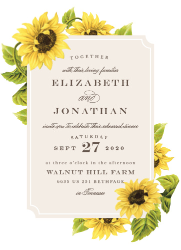 Our gorgeous Sunflower Frame Rehearsal Dinner Invitations are perfect for gathering your friends and family together for a wedding test run.