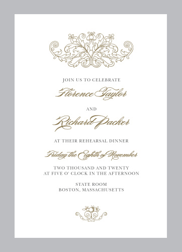 Formally invite guests to rehearse for your big day with the Vintage Damask Rehearsal Dinner Invitations.