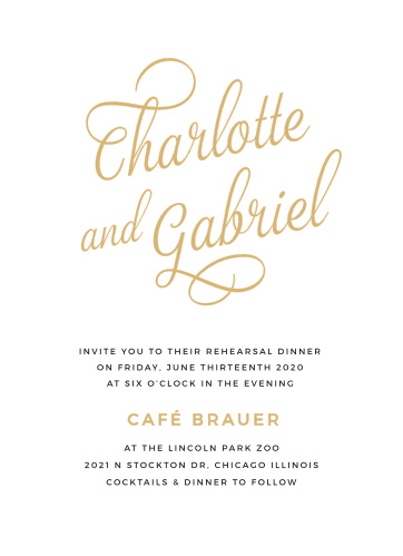 Our Script Emblem Rehearsal Dinner Invitations are beautiful, bold, and bright: gold-foil arcs across the center of the page in a swirling calligraphy, making your names shine above the classic look of the print below.
