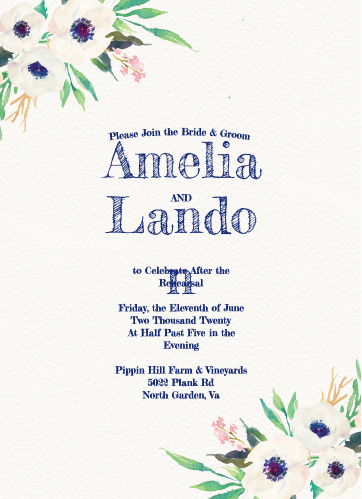 Our gorgeous Watercolor Anemone Rehearsal Dinner Invitations are perfect for gathering your friends and family together for a wedding test run.