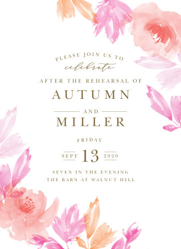 Our gorgeous Water Rose Rehearsal Dinner Invitations are perfect for gathering your friends and family together for a wedding test run.