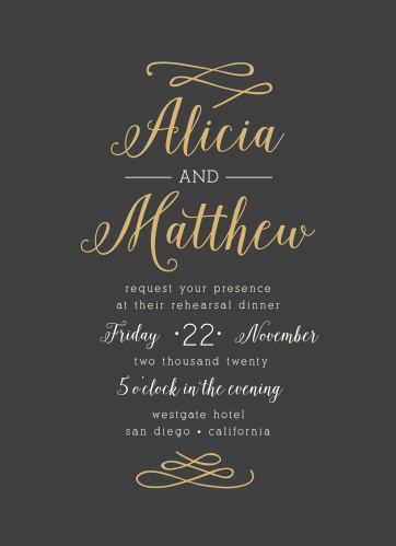 The Whimsical Calligraphy Rehearsal Dinner Invitations are an excellent example of a beautiful calligraphic foil invitation.