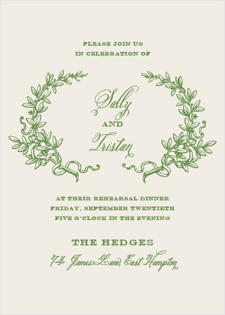 Our gorgeous Classical Gardens Rehearsal Dinner Invitations are perfect for gathering your friends and family together for a wedding test run.