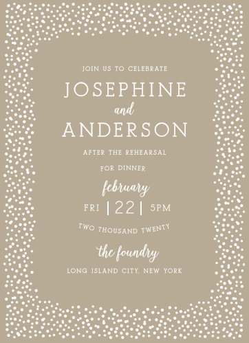 Impress your guests with the Confetti Dots Rehearsal Dinner Invitation.