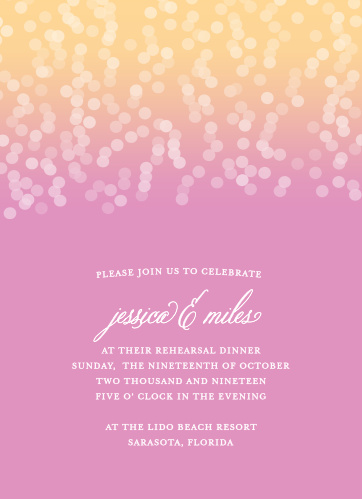 Invite friends and family to celebrate your upcoming rehearsal with the Confetti Ombre Rehearsal Dinner Invitations.
