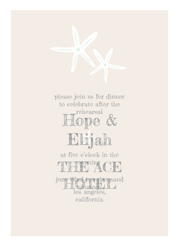 Our Starfish Beach Rehearsal Dinner Invitations are perfect for gathering your friends and family together for a wedding test run.