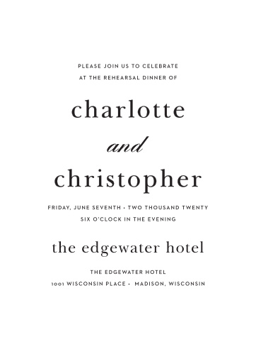 A sleek design makes the Sophisticated Typography Rehearsal Dinner Invitations a modern and elegant choice for announcing your special occasion to friends and family.