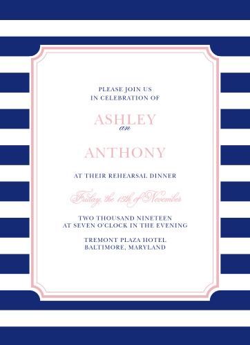 Create cheerful yet elegant invitations with the Preppy Stripe Rehearsal Dinner Invitations.