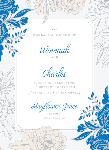 Our Peony Draped Rehearsal Dinner Invitations are perfect for gathering your friends and family together for a wedding test run.