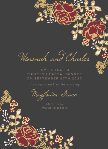Our gorgeous Opulent Floweret Rehearsal Dinner Invitations are perfect for gathering your friends and family together for a wedding test run.