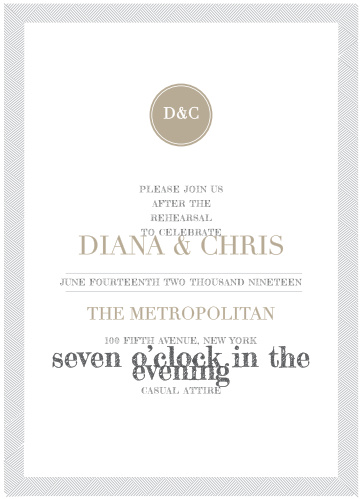 Our Simply Modern Rehearsal Dinner Invitations are straightforward and ultramodern.