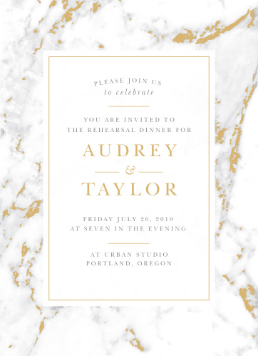 Design your invites with the cultivated sophistication of the Cool Marble Rehearsal Dinner Invitations.