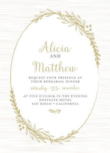 Frame your beautiful wedding invitation in a beautiful foil wreath with the Delicate Laurel Rehearsal Dinner Invitation.