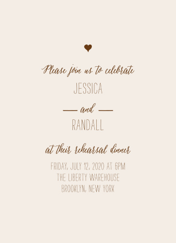 Our rustic Drawn Together Rehearsal Dinner Invitations features a gorgeous mix of hand drawn style fonts and a simple heart embellishment at the top.