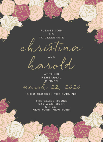 Stunning, multi-colored, rose blooms with pseudo gold accents adorn the edges of the Elegant Blooms Rehearsal Dinner Invitations.