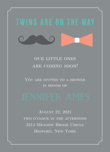 Oh man! It's twins! Let the world know with this adorable invitation!