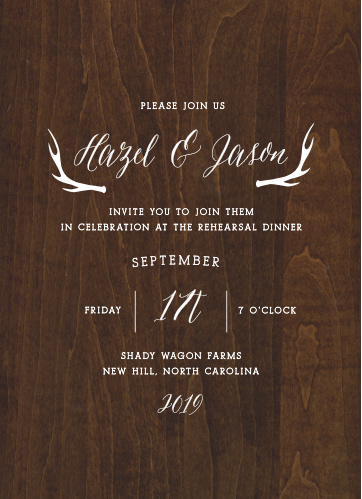 Antlers and a rich, printed woodgrain give the Rustic Wood Rehearsal Dinner Invitations country elegance.