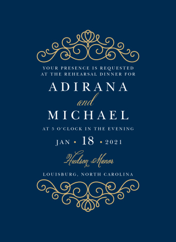 Rich navy and beautiful real gold or silver foil come together to make the beautiful Royal Scrolls Rehearsal Dinner Invitation.
