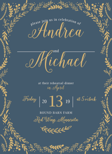 Whimsical greenery surrounds your text on the Romantic Evergreen Rehearsal Dinner Invitations.