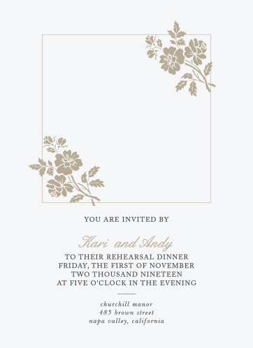 Delicate flower illustrations adorn your photo on the Rose Stamped Rehearsal Dinner Invitation.