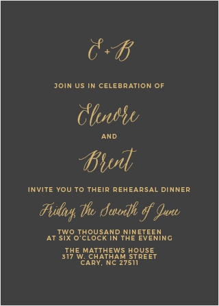 Our Rustic Script Rehearsal Dinner Invitations are perfect for gathering your friends and family together for a wedding test run.