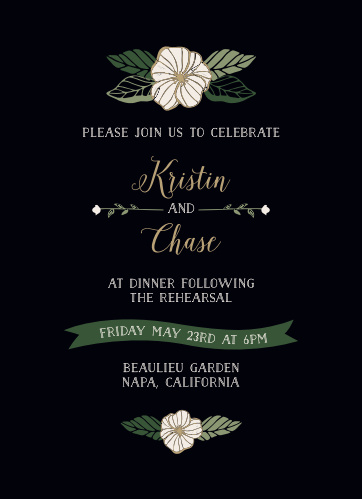 The Garden Floral Rehearsal Dinner Invitations are reminiscent of a romantic, moonlit garden.