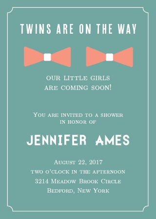 Girl Twins Baby Shower Invitation