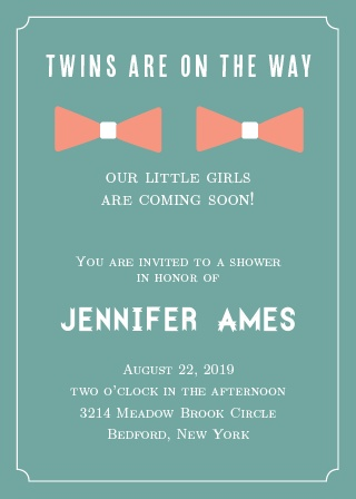 Twins are on their way! Get the world excited with this adorable invitation!