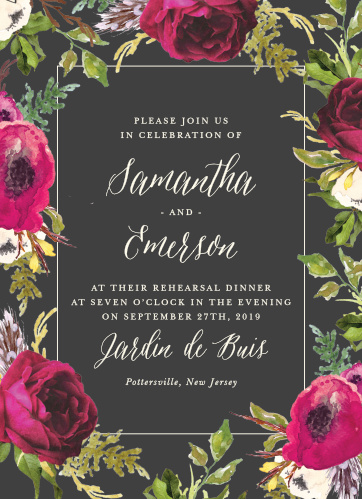 A stormy grey background is contrasted by bright vintage blooms framing the Garden Romance Rehearsal Dinner Invitations.