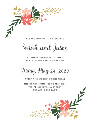 Vibrant florals in your wedding colors and your custom text make the Garden Party Rehearsal Dinner Invitations a beautiful choice for your event.