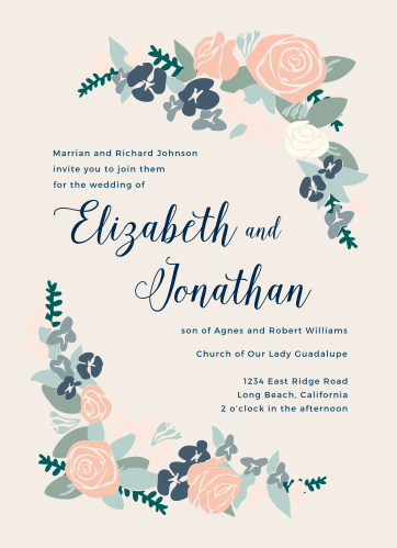 Your guests will be delighted when they receive our Illustrated Corner Wreath Rehearsal Dinner Invitations.
