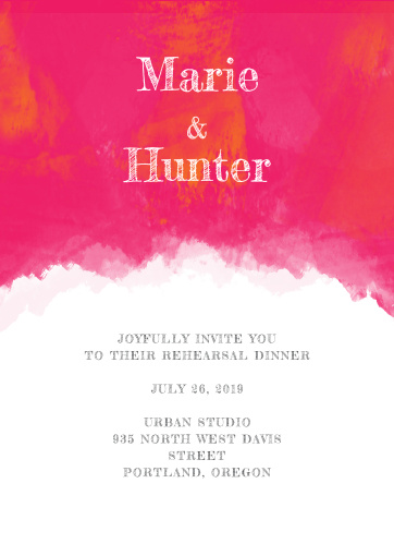 Our Splashy Watercolor Dinner Invitations are perfect for gathering your friends and family together for a wedding test run.