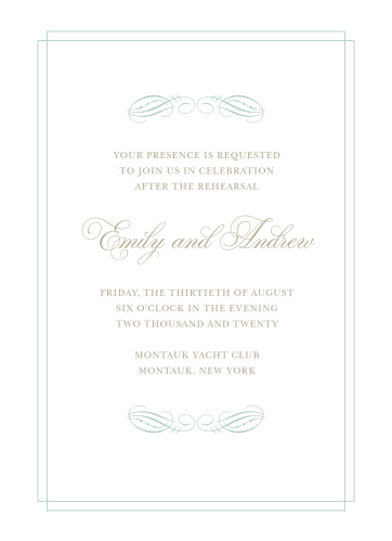 Our Emily Swash Rehearsal Dinner Invitations are perfect for gathering your friends and family together for a wedding test run.