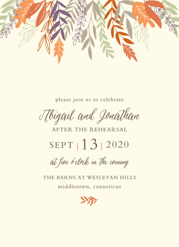 Our Fall Harvest Rehearsal Dinner Invitations are perfect for gathering your friends and family together for a wedding test run.