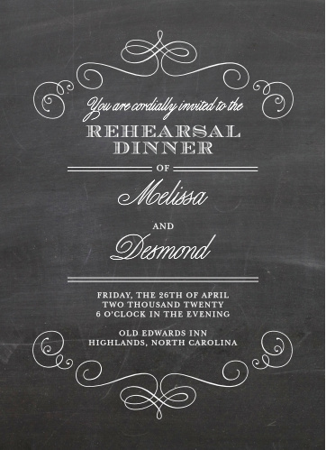 Our Fancy Chalkboard Rehearsal Dinner Invitations are perfect for gathering your friends and family together for a wedding test run.