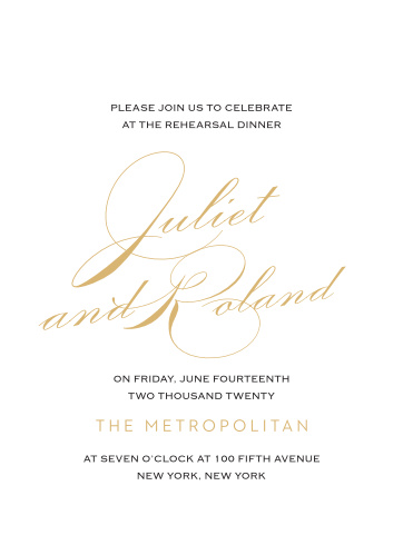 Our Classic Script Rehearsal Dinner Invitations are perfect for gathering your friends and family together for a wedding test run.