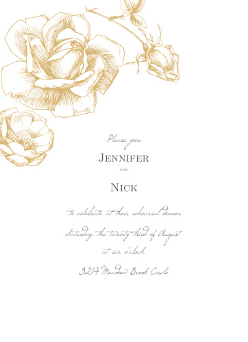 Our Illustrated Rose Rehearsal Dinner Invitations are perfect for gathering your friends and family together for a wedding test run.