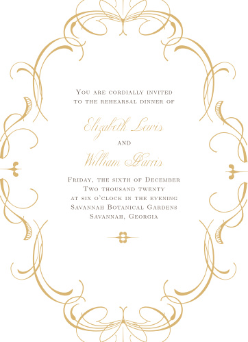 Our Flourish Charm Rehearsal Dinner Invitations are perfect for gathering your friends and family together for a wedding test run.