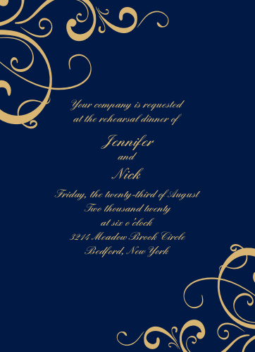 Our Simple Swirls Rehearsal Dinner Invitations are perfect for gathering your friends and family together for a wedding test run.