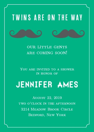 Having twins is exciting news, let the world know with this adorable moustache invitation!