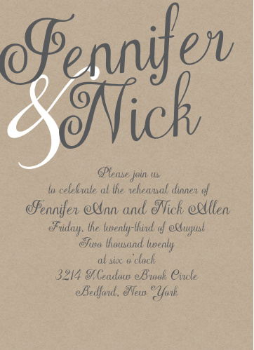 Our Elegant Kraft Rehearsal Dinner Invitations are perfect for gathering your friends and family together for a wedding test run.