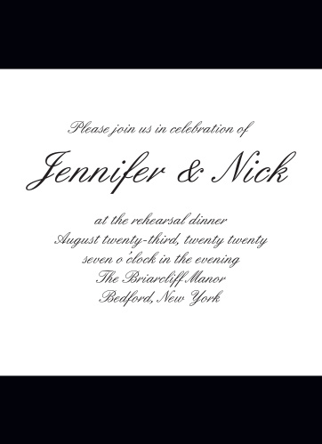 The Forever Chic wedding suite, along with the Rehearsal Dinner Invitations are one of our most popular designs!