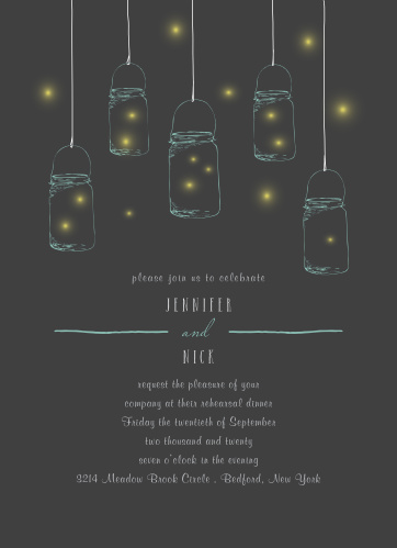 Our Mason Jars & Fireflies Rehearsal Dinner Invitations are perfect for gathering your friends and family together for a wedding test run.