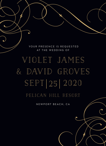 Large, flowing swirls glide gracefully across the edges of our Shining Swirls Wedding Invitations.
