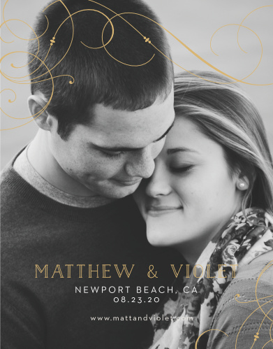 Large, flowing swirls glide gracefully across the top of your engagement photo for our Shining Swirls Save-the-Date Cards.