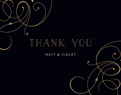 Large, flowing swirls glide gracefully across the edges of our Shining Swirls Wedding Thank You Cards.