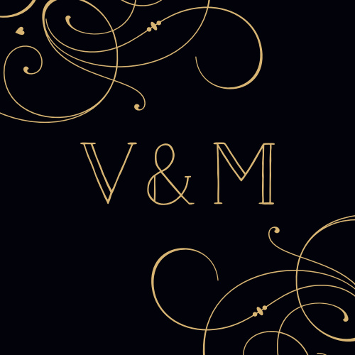 Large, flowing swirls gracefully frame your initials for our Shining Swirls Wedding Stickers.
